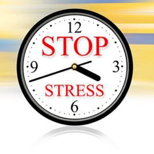 Klok met tekst stop stress voor massageolie ontspanning