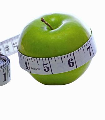Appel met centimeter eromheen