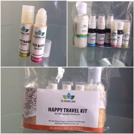 De speciale Happy Travel Kit, een reistasje met allerlei natuurlijke producten voor op reis van de Groene Linde