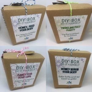 Vier nunike Do It Yourself boxen om thuis te maken of cadeau te doen.