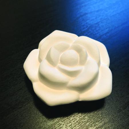 Een gipsen geursteen in de vorm van een Roos waarop je etherische olie kunt sprenkelen.