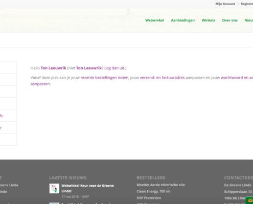 Foto van Website waarin je makkelijke je accountgegevens kan aanpassen
